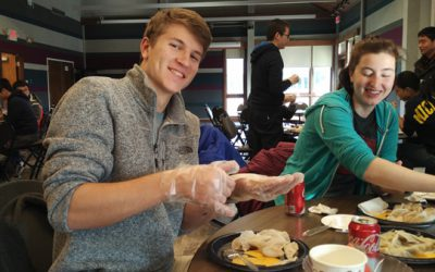 JI students at UM celebrate Thanksgiving with dumpling wrapping