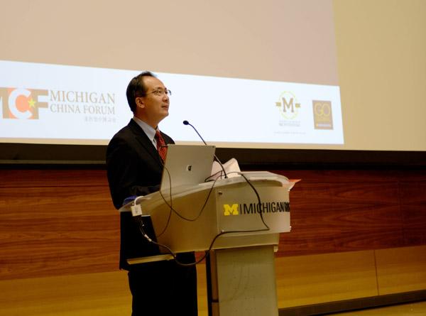 MichiganChinaForum_Consul General of China in Chicago Hong Lei副本