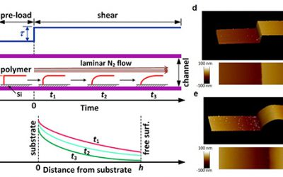 Measurement of spatially distributed rheological properties of supported thin polymer films